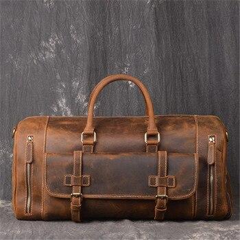 MAHEU en cuir véritable hommes sacs de voyage poche à chaussures sac à main bagages grande capacité en plein air mâle sacs de sport avec bandoulière