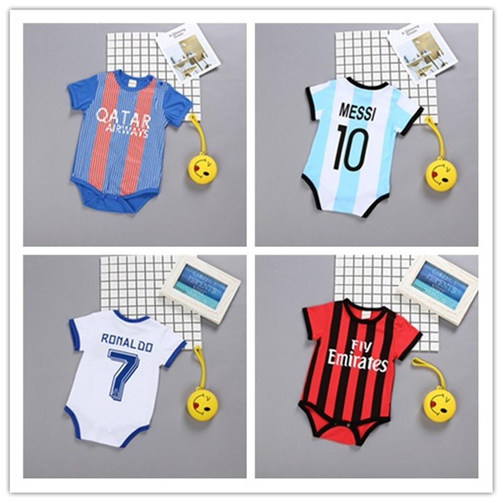 Newborn Baby Summer Rompers Sports Football Baby Boy Girls Short Sleeve Clothes Infant Baby Jumpsuits Overalls Set
