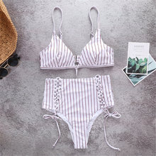 Купить с кэшбэком Ribbed Bikini Stripe Bra Sets Halter Swimsuit Bathers Swimming Suit For Women 2019 Sexy Bikini Set Push Up Biquini Feminino Swim