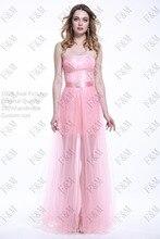 2016 FM Neueste Design Sexy Bodenlangen trägerloses Bördelndes Perspektive Rosa Kleid Langes Abendkleid Nach Maß Irgendeine größe