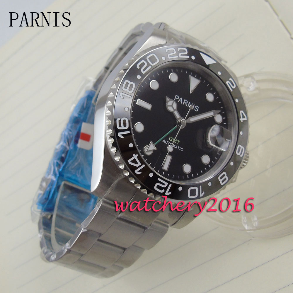 new 40mm Parnis black dial ceramic bezel white markers sapphire glass Auto Date GMT Automatic movement Men's business Watch