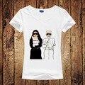 Nueva Marca de Verano de Moda de París Galeries Lafayette Historieta Impresa Mujeres de la camiseta Harajuku Karlito T-Shirt Mujeres Tops Camisetas