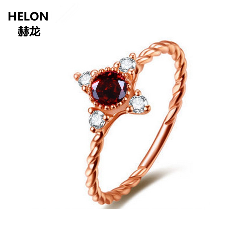 3mm Round Garnet Solid 14k Rose Gold Natural Diamonds Engagement Wedding Ring for Women Anniversary Party Classic Fine Jewelry3mm Round Garnet Solid 14k Rose Gold Natural Diamonds Engagement Wedding Ring for Women Anniversary Party Classic Fine Jewelry
