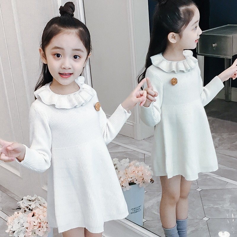 Teen Girls Sweaters 2018 Winter Autumn Knitted Dress Ruffles Collar Baby Girl Sweaters Winter White Pink Yellow Princess Tops pink solid color off shoulder crop bodycon sweaters vests