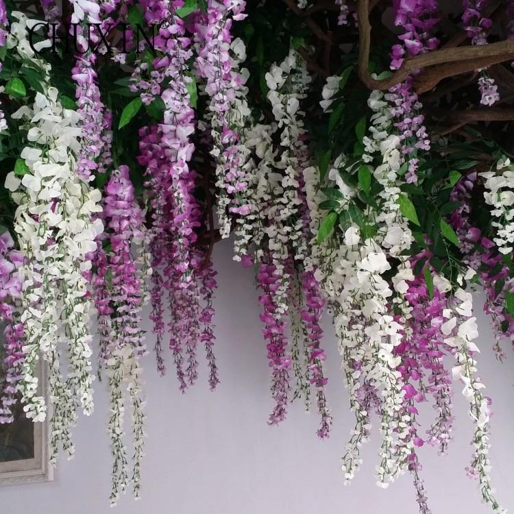 Ev ve Bahçe'ten Yapay ve Kurutulmuş Çiçekler'de 96 adet/grup Asma yapay çiçekler wisteria simülasyon rattan çiçek bracketplant dize bitki Ev duvar dekorasyon için düğün'da  Grup 1