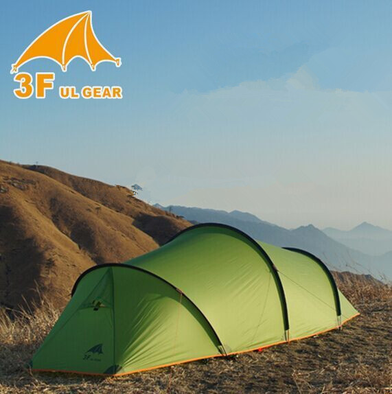 3f ul gear 2 person 2 room 4 season Tunnel tent 15D silicon outdoor camping hiking climbing ultralight large space 210T tents single bedroom apartment camping tent tunnel tents 2 3 person outdoor 2 layer driving filed tent canopy easy and convenient