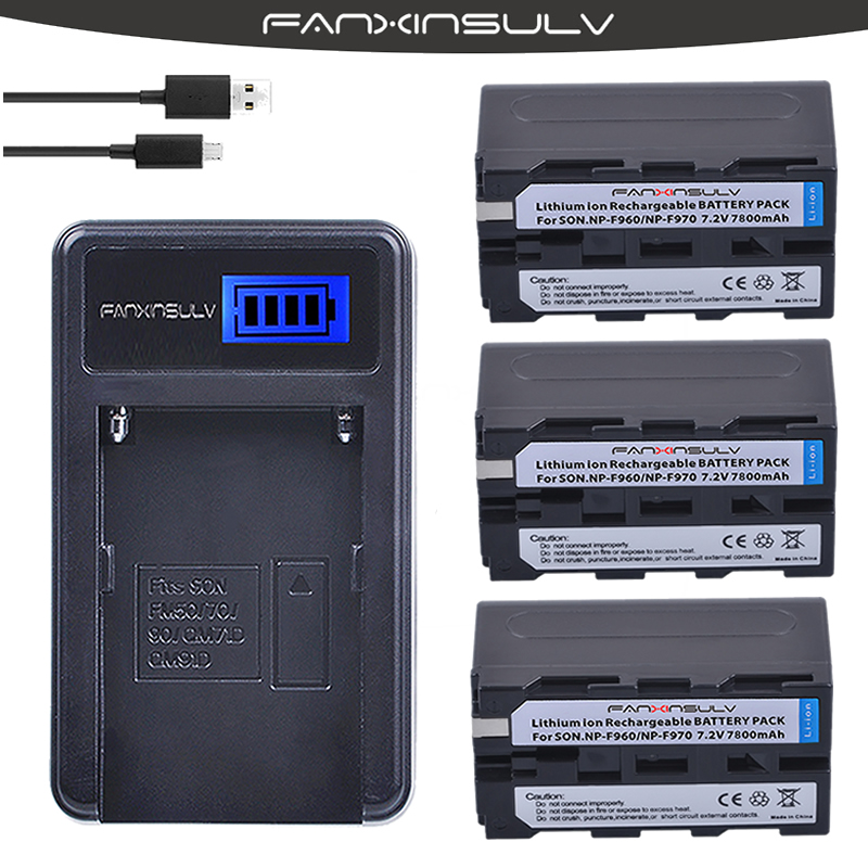 3 x 7800mAh NP-F970 NP F970 F960 Battery + USB LCD Charger For sony HXR-NX3 dcrvx2100 hdrfx1 hdrfx7 hd1000u hvrz1u pm092 <font><b>mc2500</b></font> image