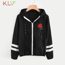 Frauen Jacke Mit Kapuze Zip Rose Stickerei Langarm Windjacke Winter Herbst Casual 2019 Mantel Casaco Feminino Mädchen Mantel 19Jl(China)