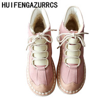 HUIFENGAZURRCS-Hot New mori girl style retro original handmade shoes, super soft bottom, student sweet beauty ankle warm boots