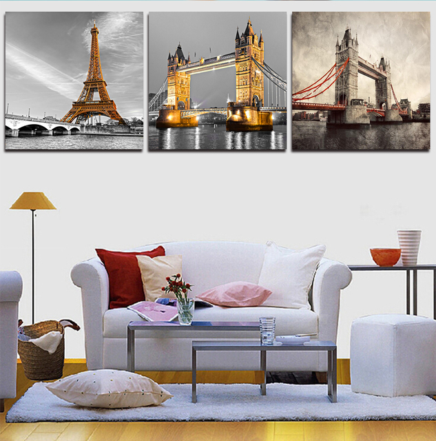 3pcs (No Frame)Wall Art City Tower Definition Pictures Highest ...