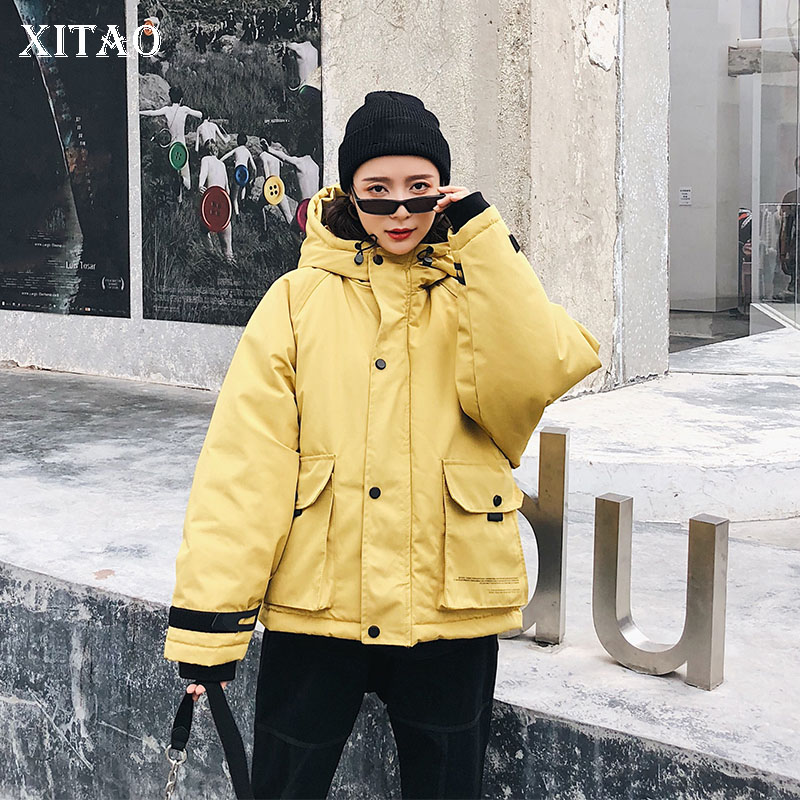[XITAO] Europe Fashion New Women 2018 Winter Loose Warm Full Sleeve Coat Female Solid Color Pocket Casual   Parka   Coat WBB1090