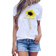 лучшая цена New Fashion Women Sunflower Print T Shirt Ladies Summer Crew Neck Short Sleeve T-shirt Female Casual Daily Multicolor Tee Tops