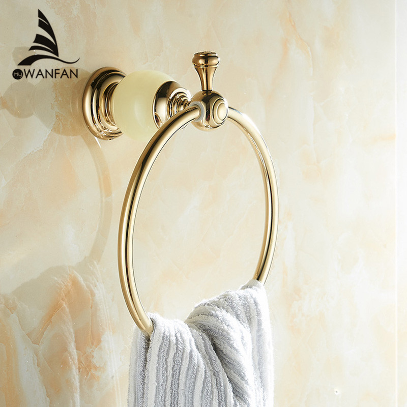 Towel Rings Wall Mounted Gold-plating Rose Gold Jewel Towel Bathroom Fitting Luxurious Wall Mounted Bath HY-24