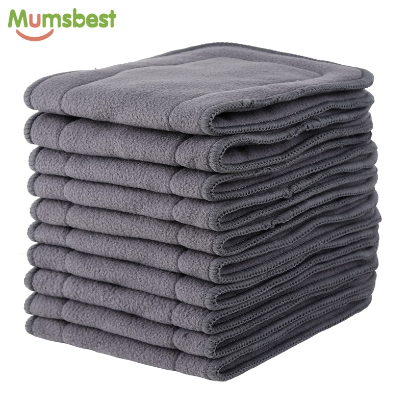 [Mumsbest]10 pcs Bamboo Charcoal Inserts For Baby Cloth Diaper Reusable Washable Inserts Liners For Real Pocket Cloth Nappy