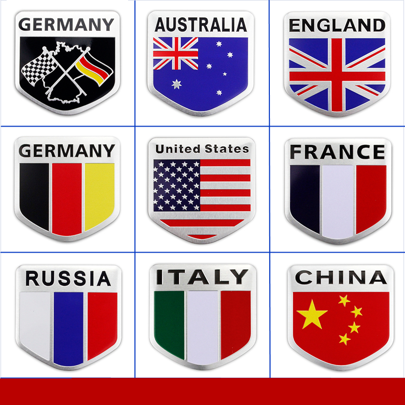10 Pcs car styling stickers Germany Russian France Italy flag emblem fit for bmw vw mercedes opel audi volvo mazda accessories emblem