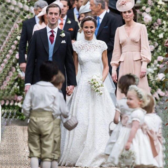 Elegant kate Pippa Middleton Lace Cap Sleeves Princess Wedding ...