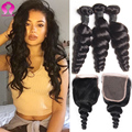 3 Bundles Curly Human Hair With Closure Brazilian Virgin Hair Loose Wave With Closure Rosa Hair Products With Closure Grace Hair