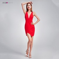 Cocktail Dress Ever Pretty Sexy New Fashion Formal Dress EP05857 Deep V Neck Sleeveless Asymmetrical Slim