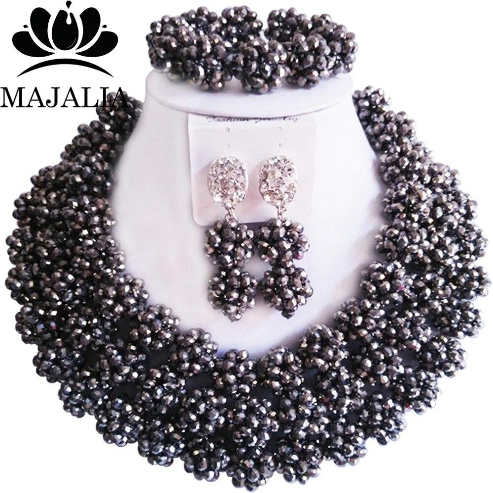 Majalia Fashion Nigeria Wedding African Beads Jewelry Set Silver Crystal Necklace Bridal Jewelry Sets 3CZ001Majalia Fashion Nigeria Wedding African Beads Jewelry Set Silver Crystal Necklace Bridal Jewelry Sets 3CZ001