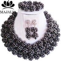 Majalia Fashion Nigeria Wedding African Beads Jewelry Set Silver Crystal Necklace Bridal Jewelry Sets 3CZ001