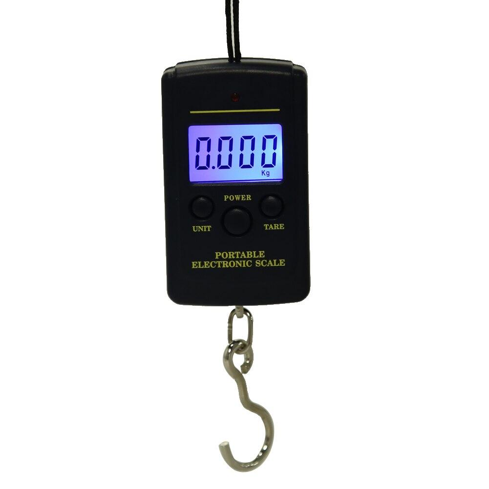 Цифровые Мини-весы 40 кг x 10 г для рыбалки, багажа, путешествий, подвесные электронные весы с крючком, ручные весы