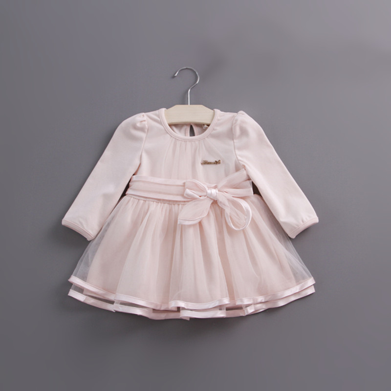 Retail-2017 autumn bow lace dress baby girls cute baby infant lace dress ball gown girl sundress princess dress 3 color