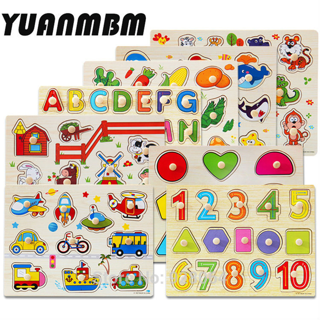 3d wood puzzle jigsaw Building Educational Puzzle Toy Learning Alphabet Puzzle Game for Preschool Kids baby toys for children