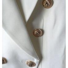 TOP QUALITY New Fashion 2019 Designer Blazer Jacket Women's Double Breasted Metal Lion Buttons Blazer Outer size S-XXXL