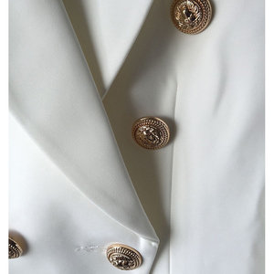 Image 5 - TOP QUALITY New Fashion 2020 Designer Blazer Jacket Womens Double Breasted Metal Lion Buttons Blazer Outer size S XXXL