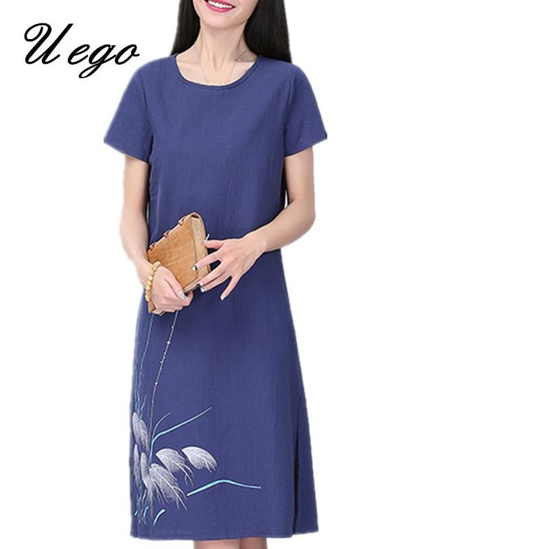 Soft cotton linen dress vintage print floral plus size for Soft cotton dress shirts