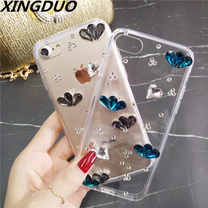 XINGDUO case Fashion Bling Crystal Rhinestone Soft Clear Case Cover Transparent shell For Samsung S8 S9 S10 Plus Note5 8 9