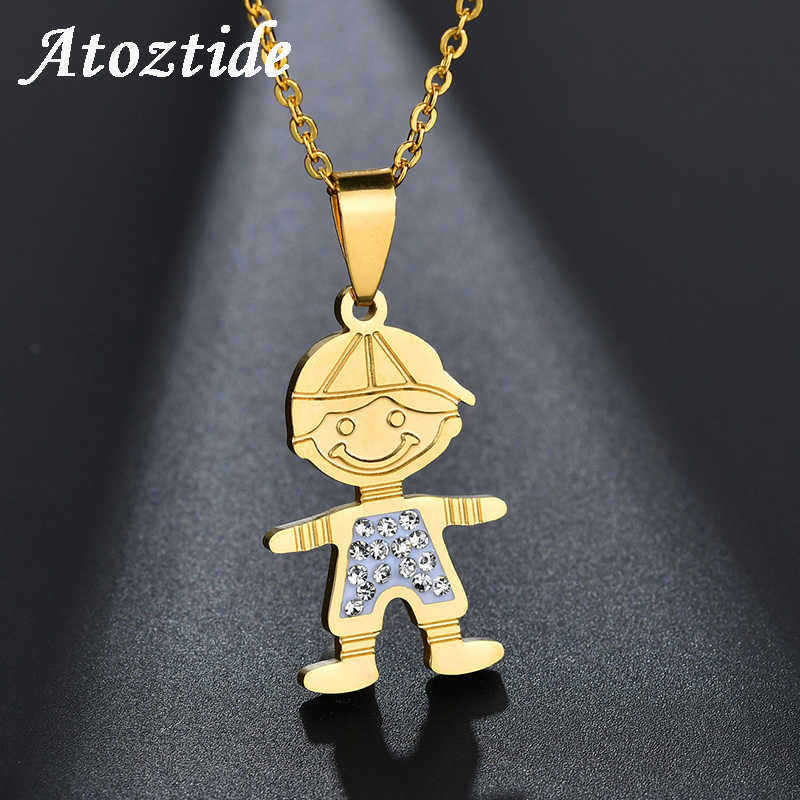Atoztide Lovely Stainless Steel Boy Girls/Son Daughter Family Necklace Rhinestone Gold Love Chain Necklace Friendship Gift
