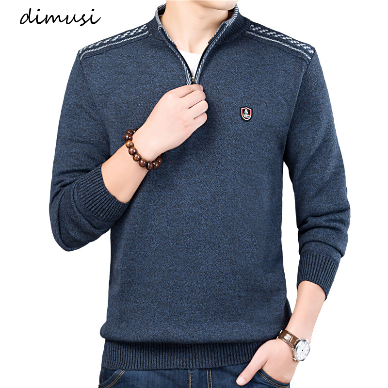 DIMUSI Men's Sweater Pullovers Turtleneck Slim-Fit Knitted Autumn Solid-Color Winter