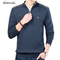 DIMUSI/осенне-зимний мужской свитер, мужской однотонный Повседневный свитер с высоким воротником, мужской облегающий брендовый вязаный пулов...