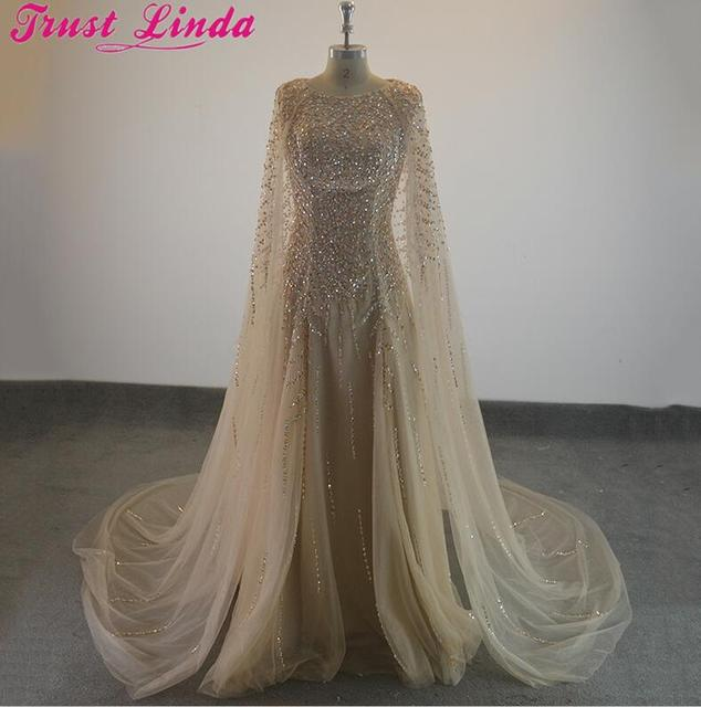 Elegant Formal Evening Dresses Crytal Beading SeaTulle Cape Prom Party Gowns Evening Wear Dress