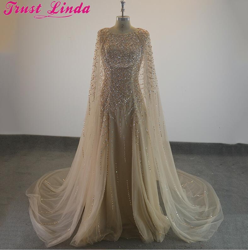 Robes de soirée formelles élégantes perles de cristal tige de selle Cape robe de soirée tenue de soirée