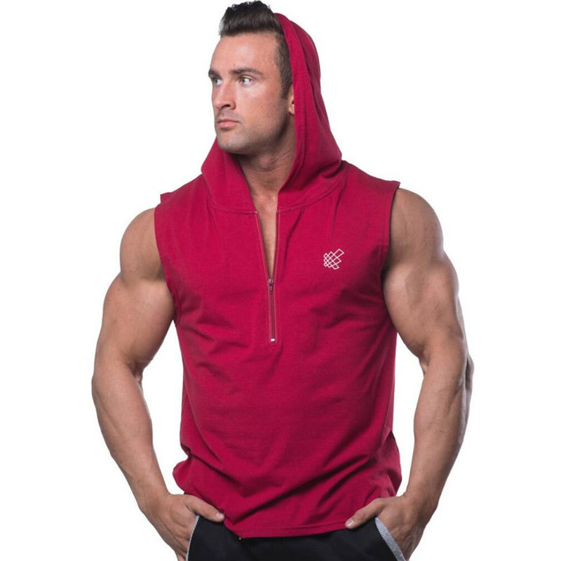 New Men Bodybuilding Hooded   Tank     Tops   Summer Casual Fashion Workout Sleeveless Zipper Sweatshirt Vest Male Gyms Fitness Clothing