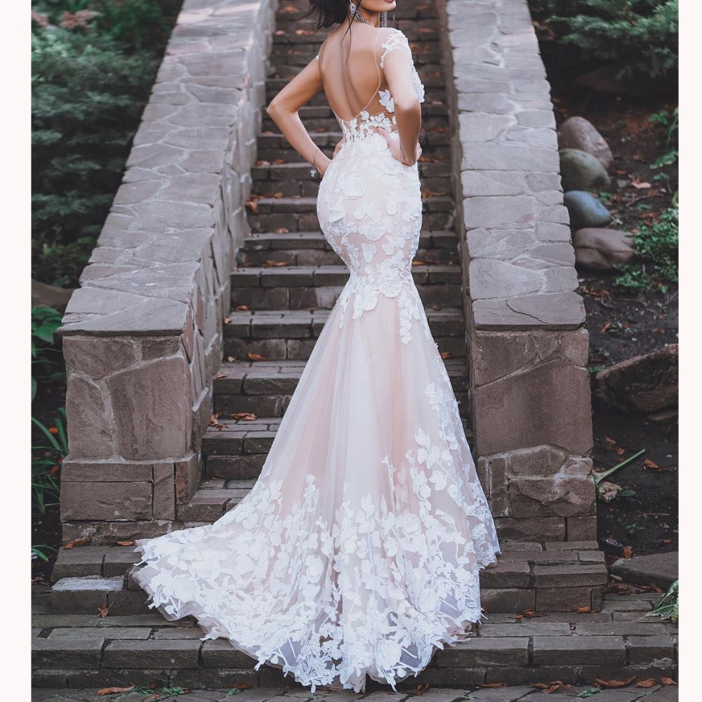 Champagne Wedding Dress Mermaid 3D Flowers Lace Backless Off Shoulder Trumpet Bridal Gown Trouwjurk Vestido De Noiva
