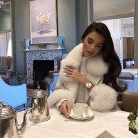 ERDAOBEN Women Fur Collar Long Wool Blends Coat Turn Down Collar Elegant Double Breasted regular long jacket coat blends BH309