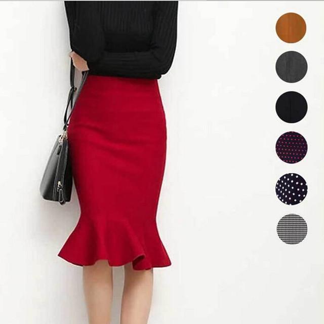 2016 nueva venta caliente de las mujeres del otoño del resorte elástico de cintura alta ruffles faldas mujer hip trompeta falda 9 colores