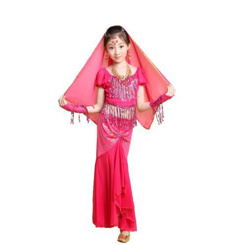 2015 KIDs Girl Belly Dance Costumes Set 4PCS Professional Child Performing maxi Skirt Vestido Bollywood Indian