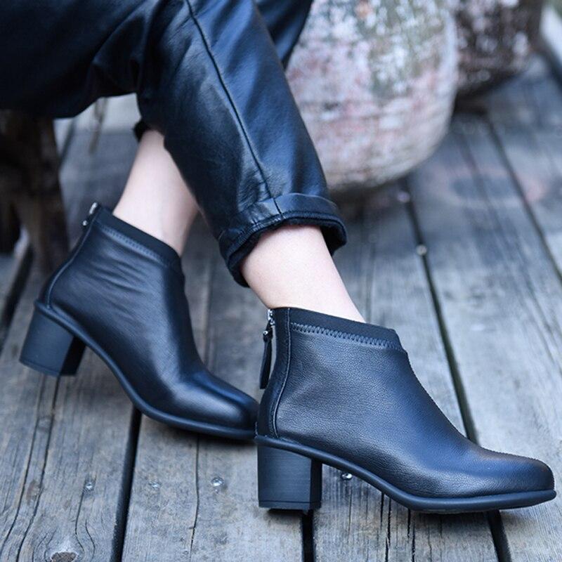 Artmu オリジナル新厚いかかとアンクルブーツ黒ハイヒールの女性のブーツ快適な本革の母の靴  グループ上の 靴 からの アンクルブーツ の中 1