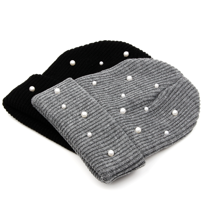 429c41b0b47 Dropwow Winter hats for women fashion pearl knitted beanies solid ...