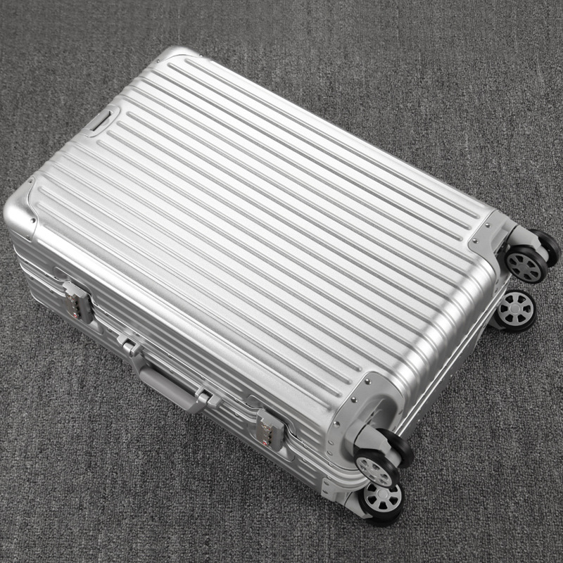 100% Aluminum Magnesium Alloy Trolley Suitcase Fashion Men Large Capacity Metal Travel Luggage Rolling Bag Business Boarding y road travel trolley luggage suitcase 100