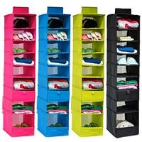 Aboutbaby 9-Shelf Ademende Stof Opknoping Closet Kleding Organizer Opknoping Planken voor Kleding Sokken Puppets Speelgoed Opslag