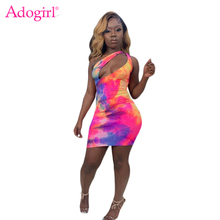 Adogirl Tie Dye Print One Shoulder Bodycon Dress Women Sexy Hollow Out Sleeveless Sheath Mini Night Club Party Dresses Vestidos adogirl tie dye print women casual dress o neck short sleeve bodycon sheer mini t shirt dresses female night club party outfits