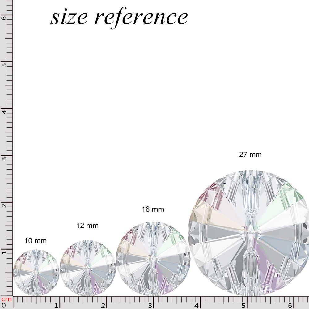 Asli Kristal dari Swarovski 3015 Bulat Kristal Tombol Berlian Imitasi untuk Diy Pakaian Gaun Pakaian Sepatu Bot Salju 2018