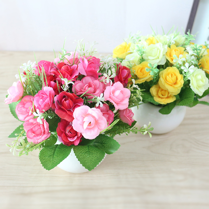 JAROWN Artificial Flowers Rose Quality Ceramics Vase +Silk Flowers Artificial Flower Set Home Decoration Home Flowers Decoration (