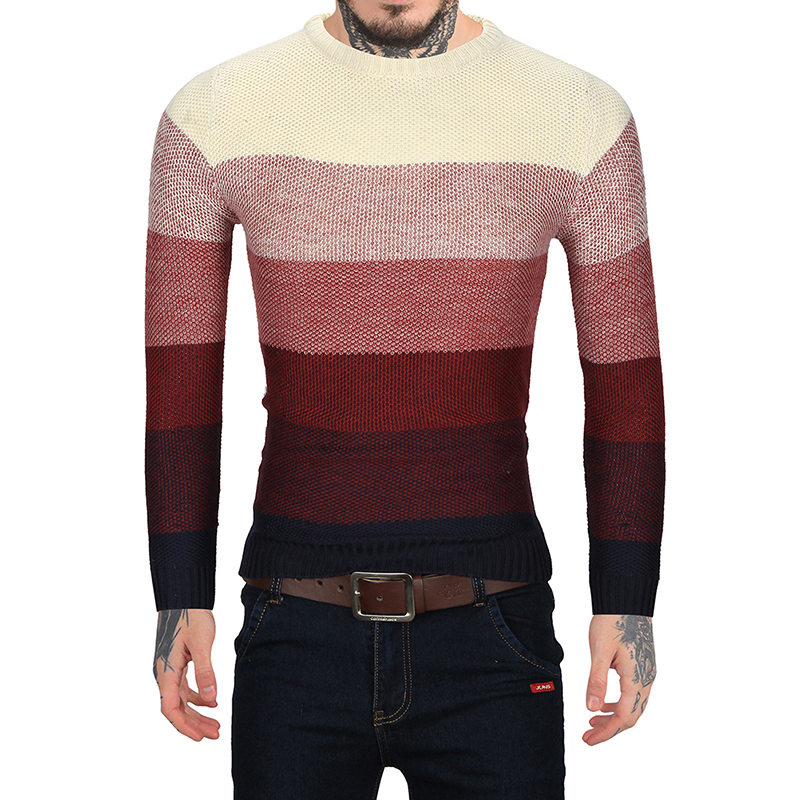 2018 New Arrival Fashion Patchwork O-Neck Men Sweater Slim Fit Casual Men Regular Sweaters Leisure Male Pullover Sweater M-2XL