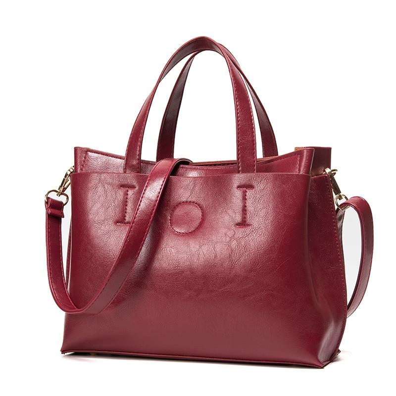 Luxry Brand Women Bag Wax Leather Handbags Lady Large Tote Bag Female Shoulder Bags Bolsas Femininas Brown Black Red